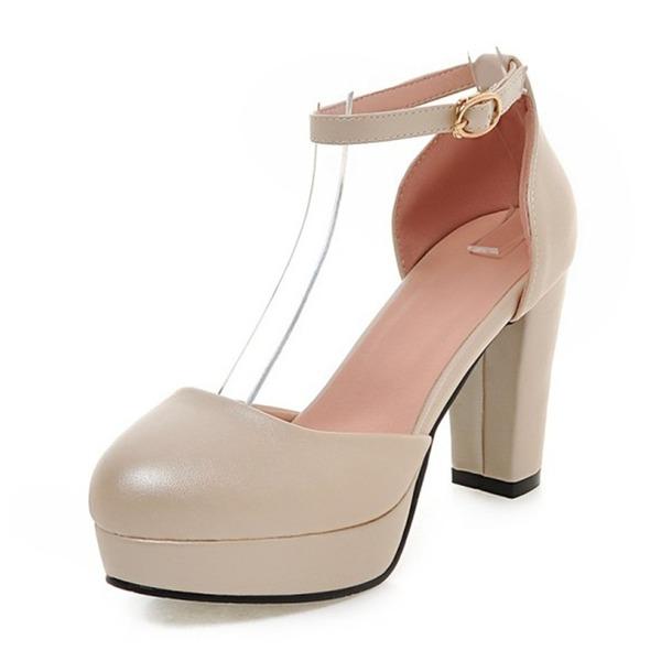Vrouwen Kunstleer Chunky Heel Pumps Plateau schoenen