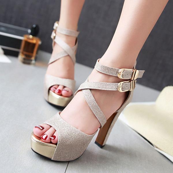 Naisten Kuohuviini glitteri Chunky heel Sandaalit Avokkaat Platform Peep toe jossa Kuohuviini glitteri Solki kengät