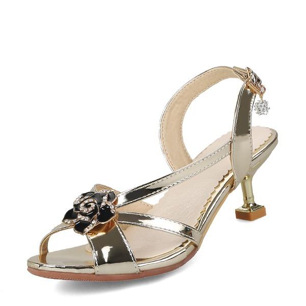 Frauen PU Spule Absatz Sandalen Absatzschuhe Peep Toe Slingpumps mit Blume Schuhe