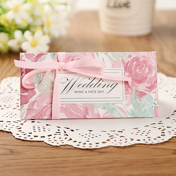 Creative/Classic/Lovely Card Paper Favor Boxes With Ribbons (Set of 12)