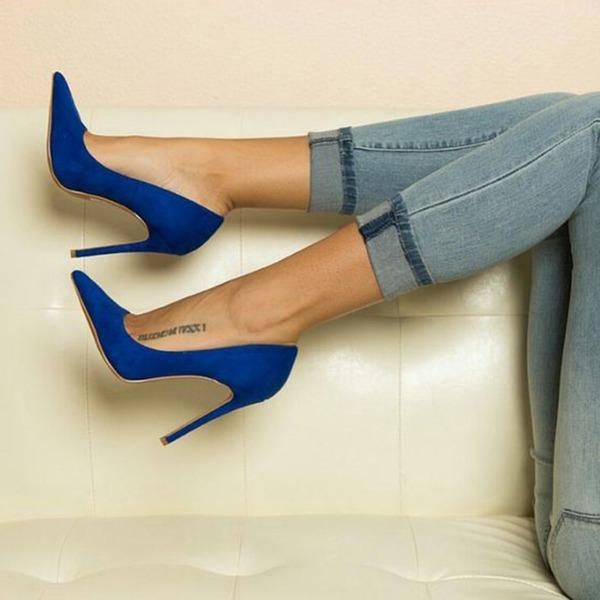 Mulheres Camurça Salto carretel Bombas Fechados sapatos