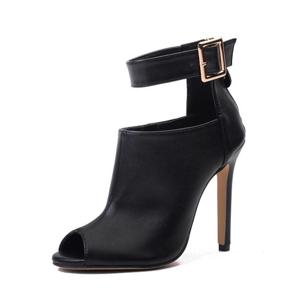 Donna PU Tacco a spillo Stiletto Stivali Stivali alla caviglia con Fibbia Cerniera scarpe