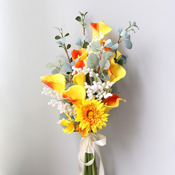 Rafine Serbest çalışma ipek Çiçek Gelin buketleri -