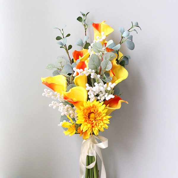 Raffineret Friform Silke Blomst Brude Buketter -