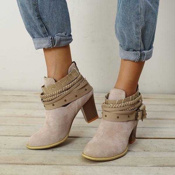 Kvinder Ruskind Stor Hæl Ankelstøvler med Blondér sko