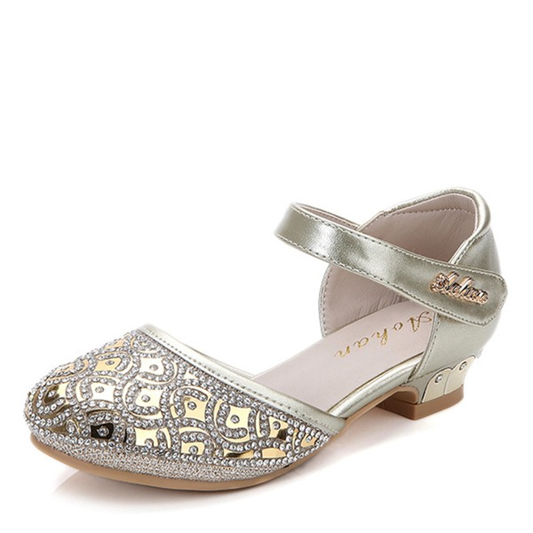 Jentas Round Toe Lukket Tå Leather flat Heel Flate sko Flower Girl Shoes med Velcro Crystal