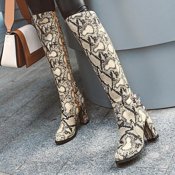 Vrouwen PU Chunky Heel Knie Lengte Laarzen met Gesp Dier Afdrukken Rits schoenen