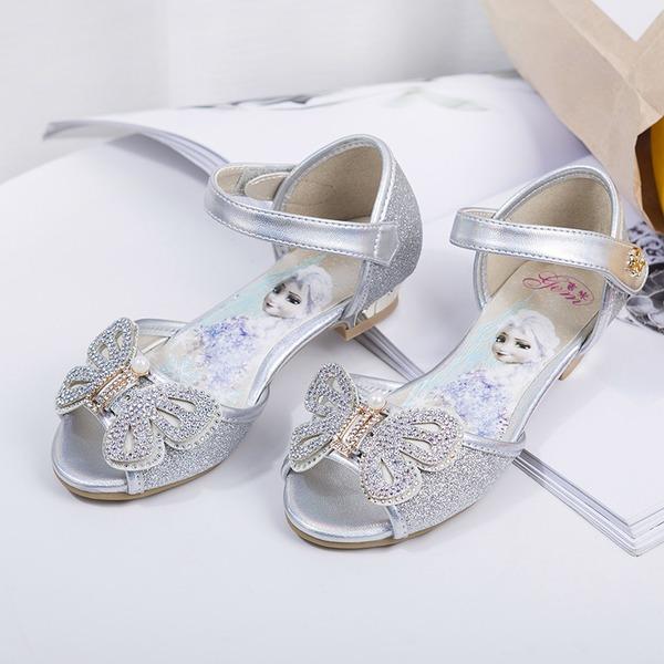 Fille de À bout ouvert similicuir talon plat Chaussures plates Chaussures de fille de fleur avec Bowknot Velcro Cristal Pearl