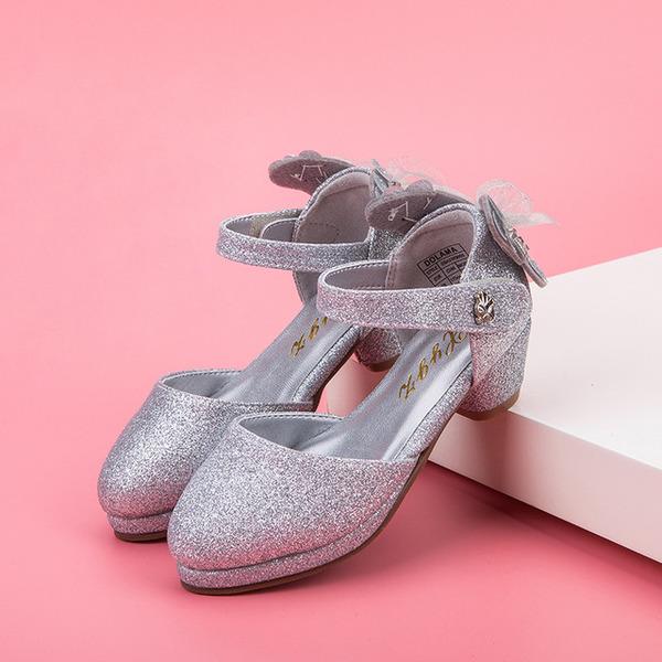 Jentas Lukket Tå Leather Sparkling Glitter lav Heel Flate sko Flower Girl Shoes med Bowknot Velcro