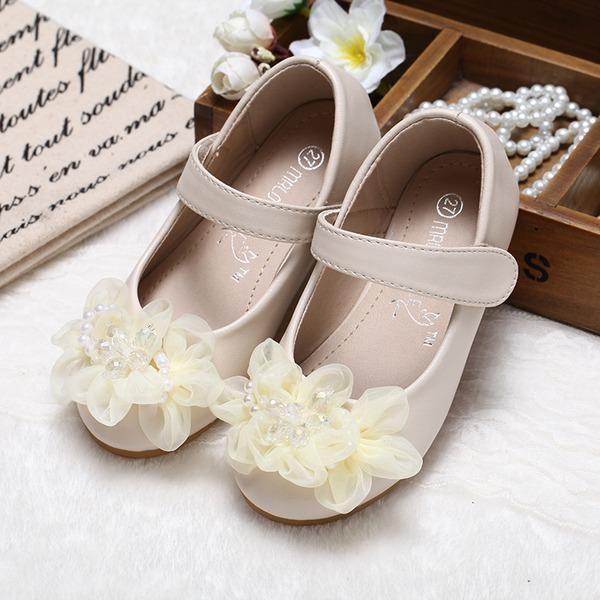 Mädchens Geschlossene Zehe Leder Flache Ferse Flache Schuhe Blumenmädchen Schuhe mit Nachahmungen von Perlen Blume