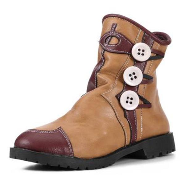 Dámské PU Široký podpatek Boty S nášivka Tlačítko Ze dvou částí obuv