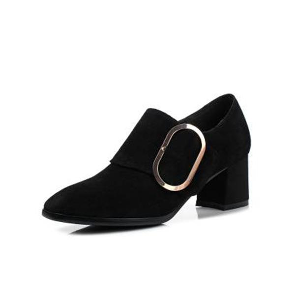 Frauen Veloursleder Niederiger Absatz Absatzschuhe Stiefelette mit Schnalle Schuhe