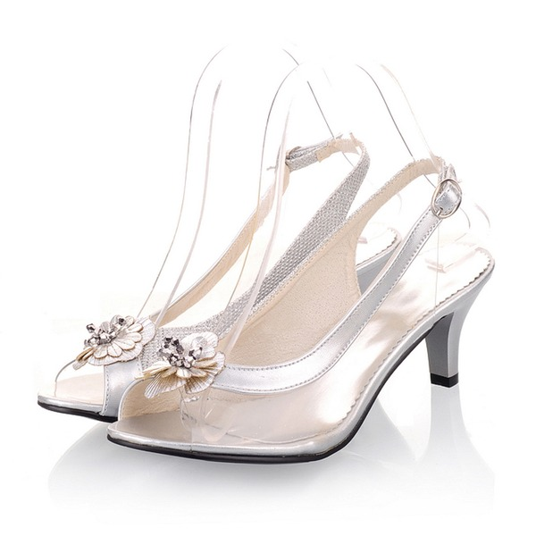 Frauen Kunstleder Kegel Absatz Sandalen Peep Toe Slingpumps mit Blume Schuhe