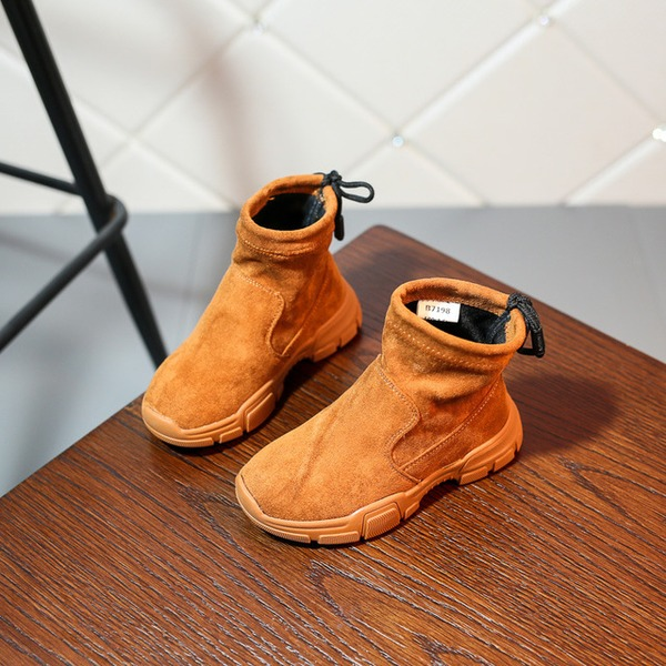 Girl's Round Toe Closed Toe Ankle Boots Fabric Flat Heel Flats Boots Sneakers & Athletic