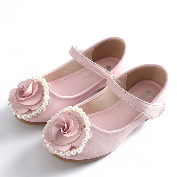 Girl's Closed Toe Mary Jane Microfiber leer Bloemenmeisje schoenen met strik Velcro