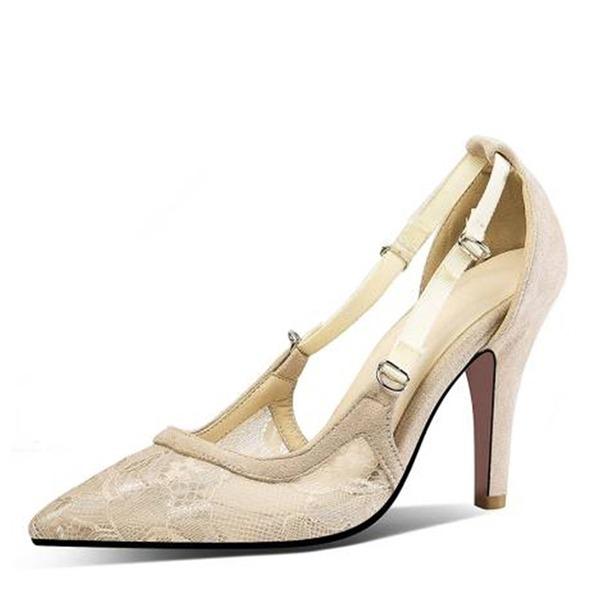 Vrouwen Fluwelen Mesh Stiletto Heel Sandalen Pumps Closed Toe met Hol-out Gesplitste Stof schoenen