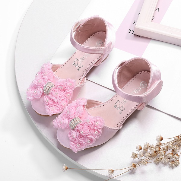 Jentas Round Toe Lukket Tå Leather Flate sko med Bowknot Blomst