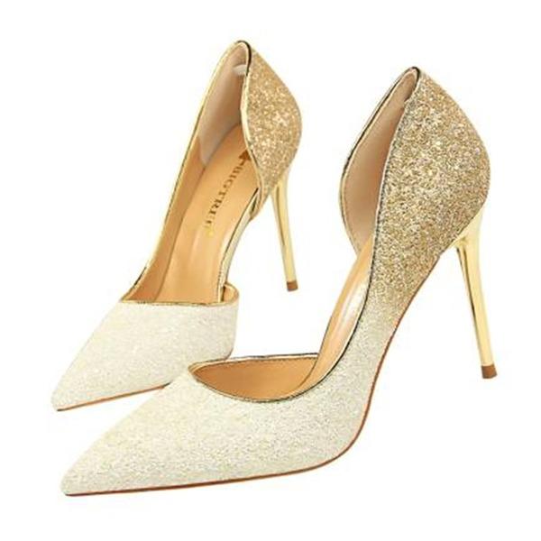 Kvinnor Glittrande Glitter Stilettklack Sandaler Pumps Stängt Toe med Paljetter skor