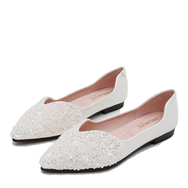 Frauen Microfaser Leder Flascher Absatz Flache Schuhe Geschlossene Zehe mit Pailletten Schuhe