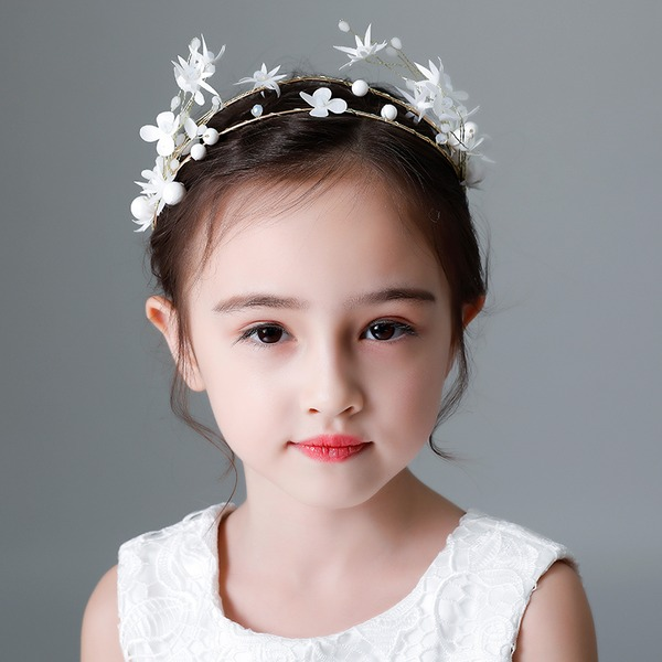 Kids Smukke Rhinsten/Legering/Imiteret Pearl/Silke Blomst Tiaraer med Rhinsten/Venetiansk Perle (Sælges i et enkelt stykke)