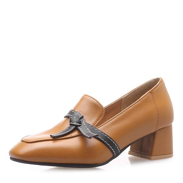 De mujer Cuero Tacón ancho con Bowknot Hebilla zapatos