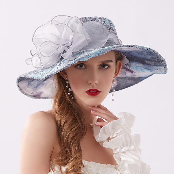 Ladies' Elegant/Fancy Lace With Flower Beach/Sun Hats/Kentucky Derby Hats/Tea Party Hats