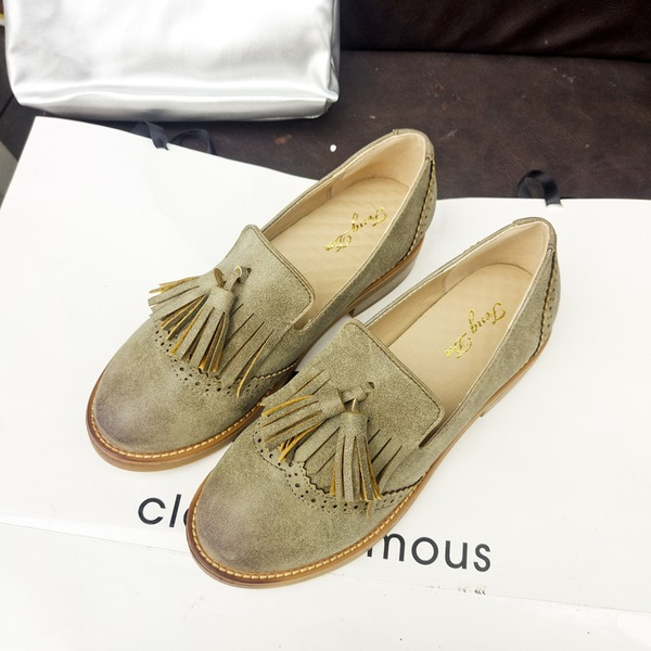 Women's Suede Low Heel Closed Toe With Tassel shoes