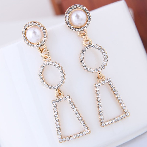 Beautiful Alloy Rhinestones Imitation Pearls With Imitation Pearl Rhinestone Women's Fashion Earrings (Sold in a single piece)