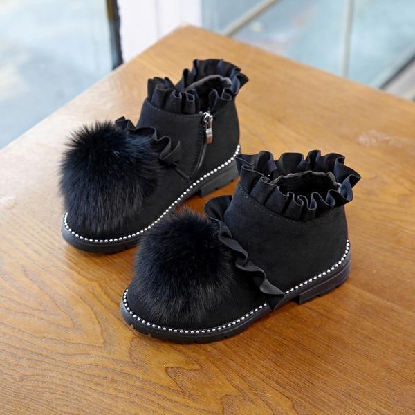 Fille de Bout fermé Bottines Suède talon plat Chaussures plates Bottes Chaussures de fille de fleur avec Zip pom pom