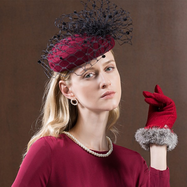 Ladies' Gorgeous/Fashion/Glamourous Wool With Tulle Beret Hat