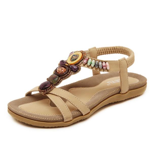 Dámské Koženka Placatý podpatek Sandály S Zdobení korálky obuv