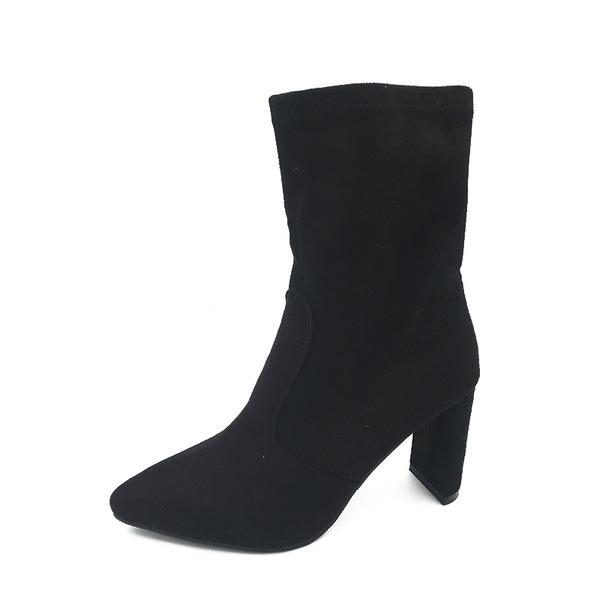 Kvinnor Mocka Stilettklack Stövlar Halva Vaden Stövlar med Andra skor