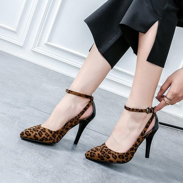 Femmes Suède Talon stiletto Sandales Escarpins Bout fermé avec Boucle Ouvertes chaussures