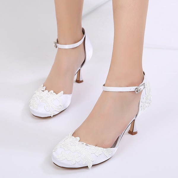 Women's Silk Like Satin Stiletto Heel Closed Toe Pumps Sandals With Buckle Applique