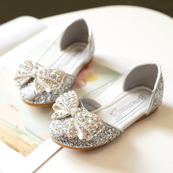 Fille de bout rond Bout fermé Glitter mousseux talon plat Chaussures plates avec Bowknot
