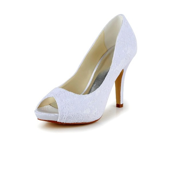 Kvinnor Spets STILETTKLACK Peep Toe Pumps