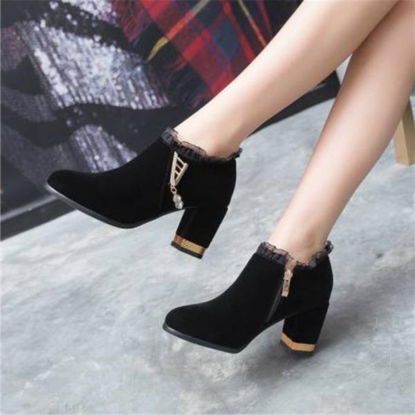 Mulheres Veludo Salto robusto Bombas com Strass sapatos