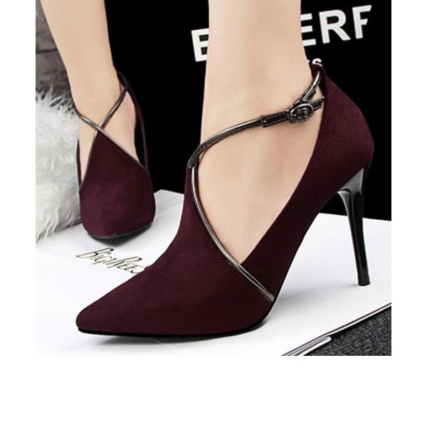 Женщины Замша Высокий тонкий каблук На каблуках Закрытый мыс с пряжка обувь