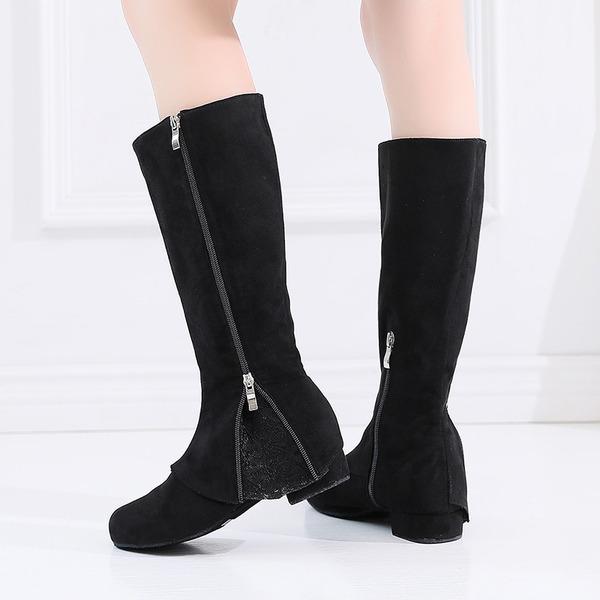 Mulheres Camurça dança botas Sapatos de dança