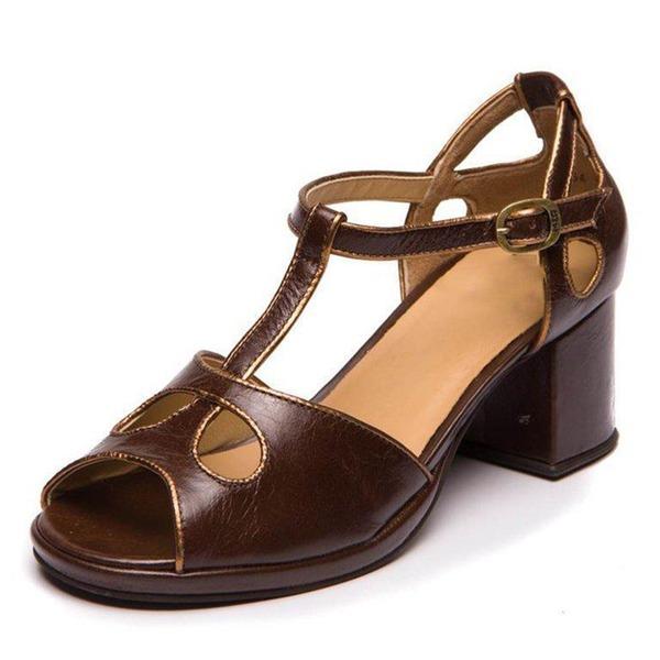 Naisten Keinonahasta PU Chunky heel Avokkaat Suljettu toe jossa Solki Ontto-out kengät