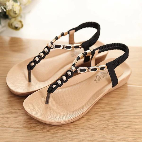 Women's Leatherette Wedge Heel Sandals Peep Toe Slingbacks With Beading Elastic Band shoes