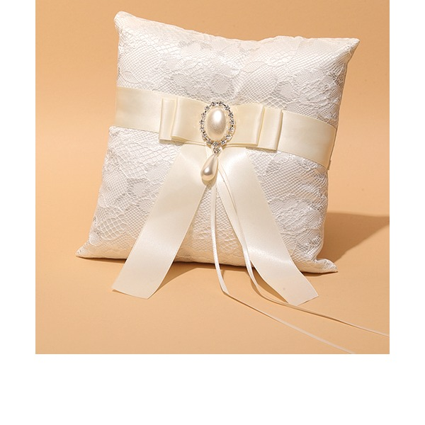 Square Ring Pillow in Satin/Lace With Ribbons/Rhinestones/Faux Pearl/Lace