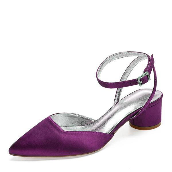 Naisten silkki kuten satiini Chunky heel Suljettu toe Sandaalit jossa Tekojalokivi