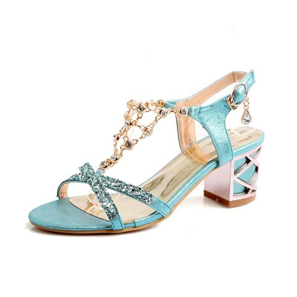 Mulheres Couro Salto robusto Sandálias Bombas Peep toe sapatos