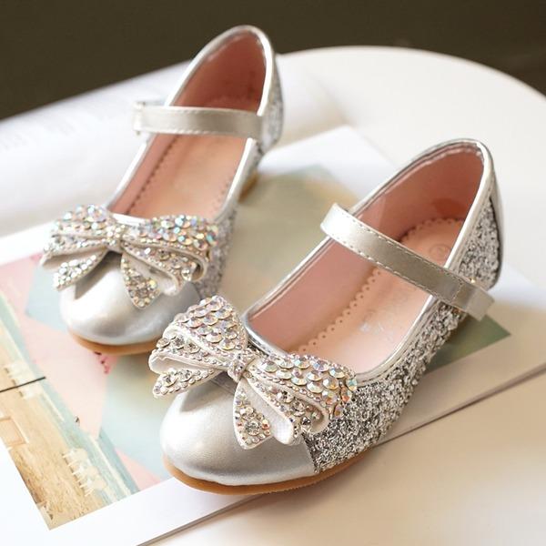 A menina de Toe rodada Fechados Glitter espumante Heel plana Sem salto com Bowknot Velcro