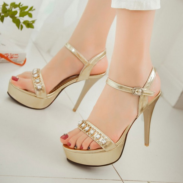 Women's PU Stiletto Heel Sandals Pumps Platform Peep Toe Slingbacks With Rhinestone shoes