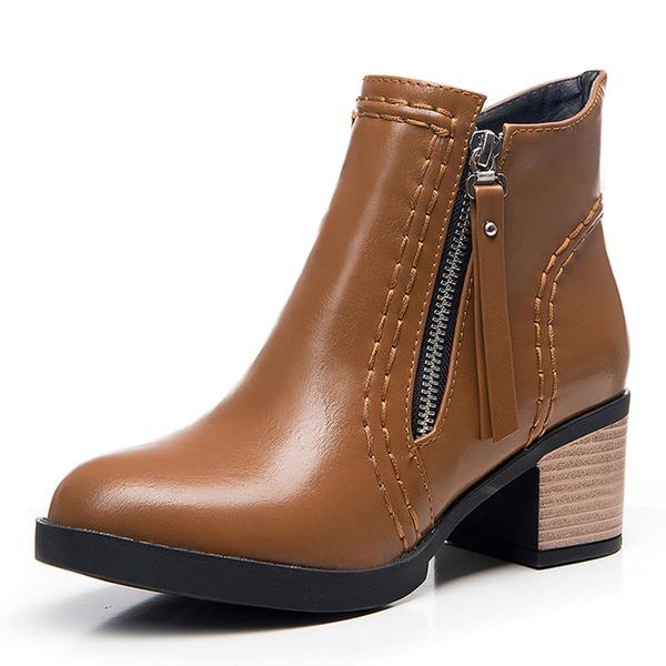 Donna Similpelle Tacco spesso Stiletto Punta chiusa Stivali Stivali altezza media con Cerniera scarpe