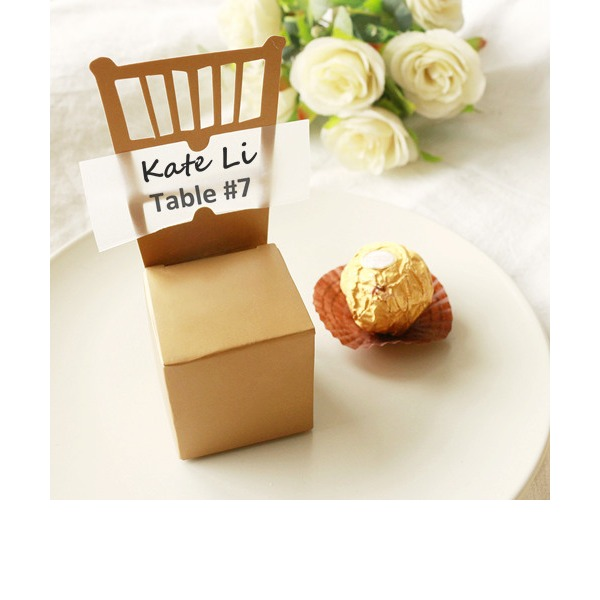 50th Anniversary Gold Chair Favor Box (Set of 12)