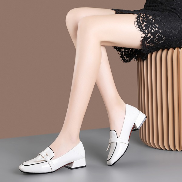 Women's Patent Leather Chunky Heel Pumps أحذية