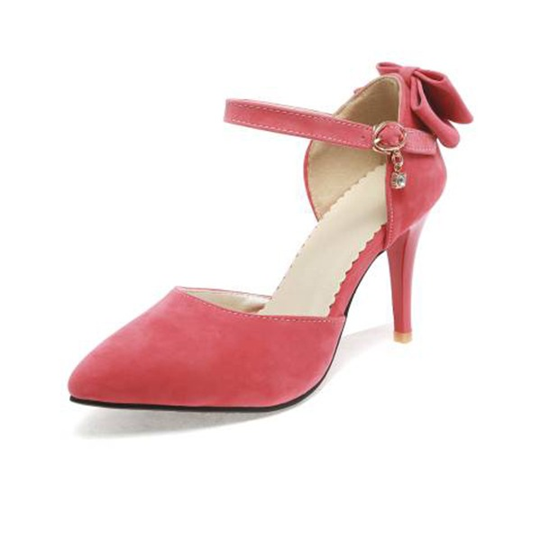 Women's Suede Stiletto Heel Pumps Sandals With Bowknot Buckle